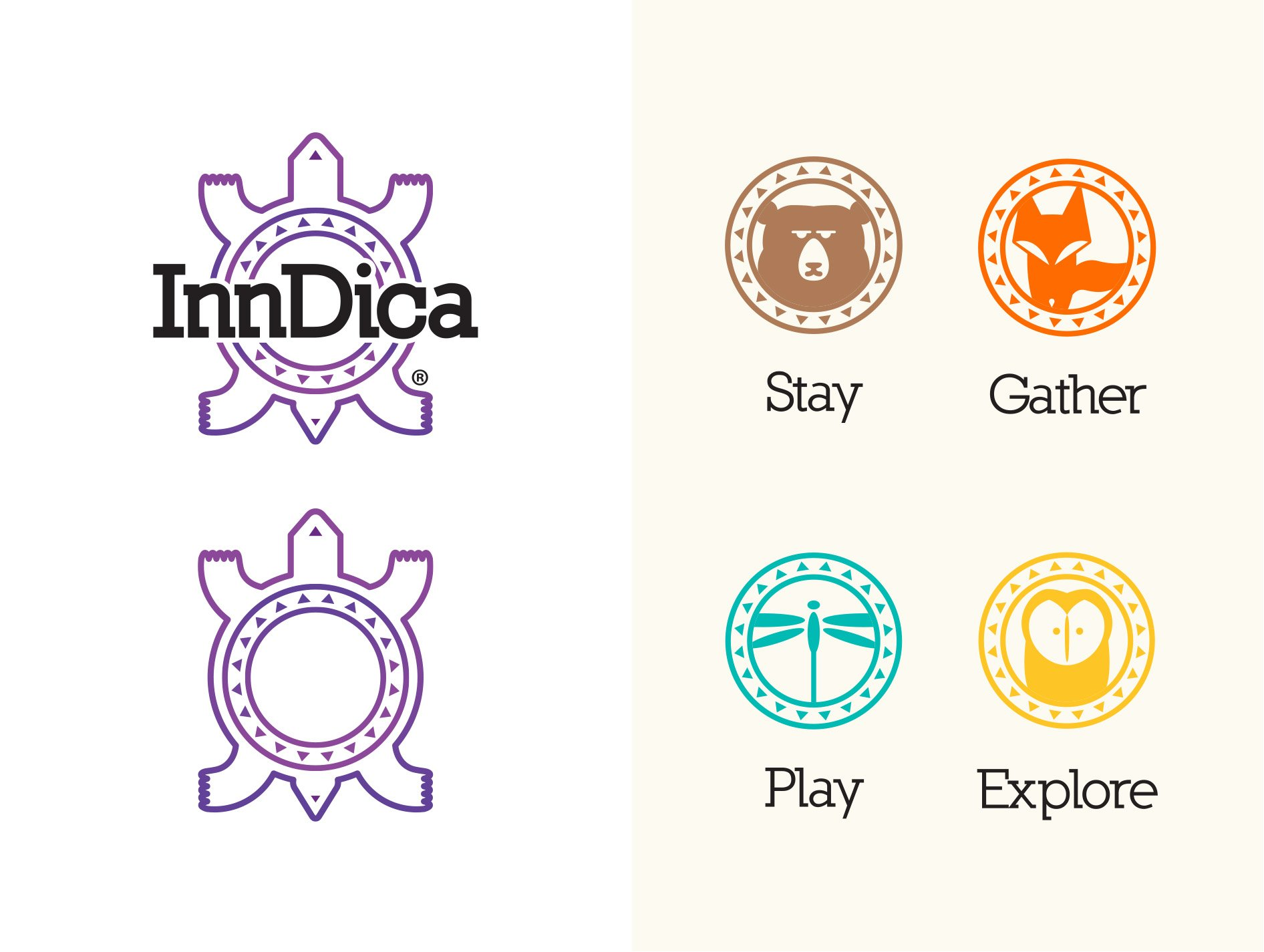 InnDica.com Turtle Logos and Stay Gather Play Explore Icons