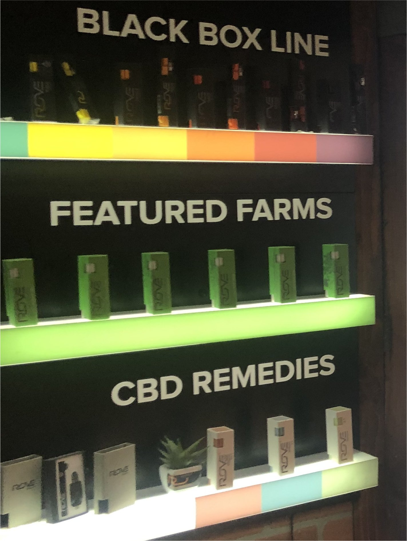 In-Store Display Rove Brand Featured Farms, Black Box and CBD